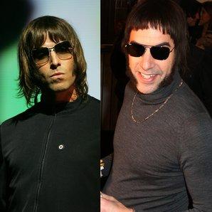 Liam Gallagher and Sacha Baron Cohen splitscreen