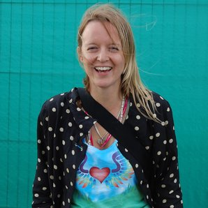 Emily Eavis on site at Glastonbury in 2010 (downlo