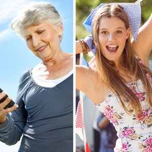 Stock images grandma and festival-goer splitscreen