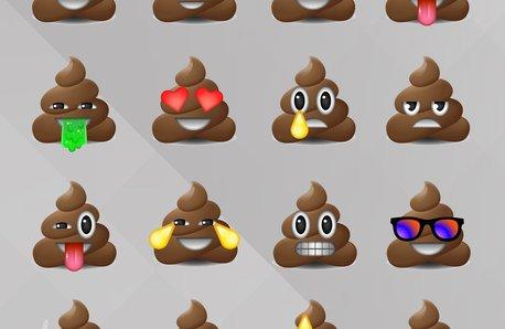 Poop Emoji Stock Image with Radio x grey backgroun