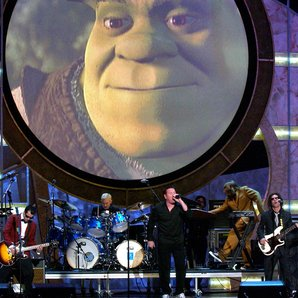 Smash Mouth Performing in 2002 behind Shrek Backdr