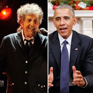 Bob Dylan and Barack Obama split screen