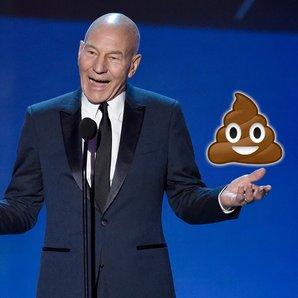 Patrick Stewart with Poo emoji