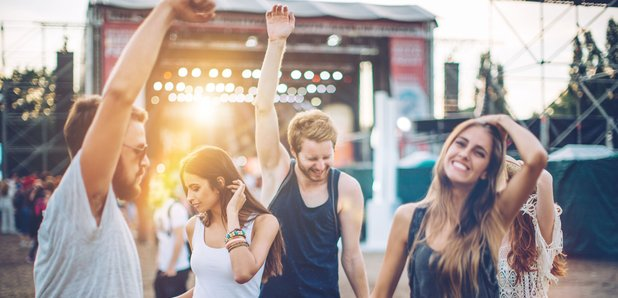 Festival goers stock image